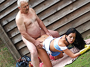 Hot younger chick nailed by a horny senior