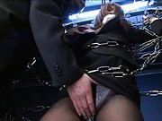 Yua Kisaki Asian is tied in chains and has vagina aroused by dude