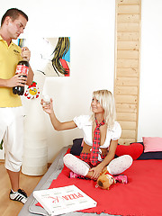 Lovely euro teen Pinky June gets her hot pizza in exchange for sex