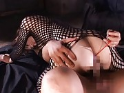 Maria Ozawa Asian is fucked through fishnet with many sex toys