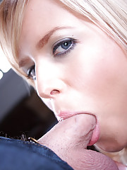 gorgeous blonde amateur sucks cock gets cum facial