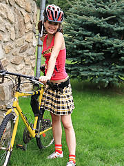 Wanna go biking with undressed 18yo girl? Check this out!