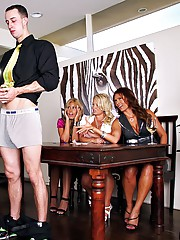 3 smoking big tits milfs have a real cock competition with measuring tape then fuck them all in these hot hard fucking group sex of big tits milfs