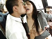Saori Hara Asian gets doggy fuck and vibrator on pussy on the bus