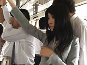Japanese AV Model is rubbed on slit by man cutting her pants