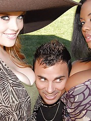2 hot fucking black and white babes share their hot big tits and black ass in these outdoor public park fucking picnic fucking pics