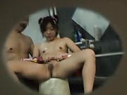 Japanese AV Model strokes two tools at shower and gets their cum