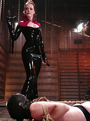 Latex Goddess humiliates slave boy