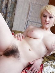 Hairy girl Kira looks innocent in white