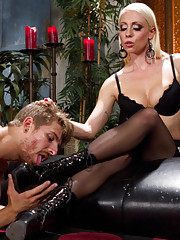 Pretty boy muscle dude is punished, butt fucked and denied any pleasure for his small and inadequate cock by smoking hot blonde mistress.