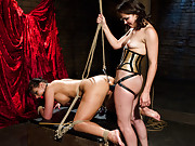 Phoenix Marie is whipped, spanked and has her ass stretched while strap-on fucked by Bobbi Starr.
