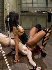 Calico returns dominated and fisted then does her first lesbian double penetration with Maitresse Madeline & Skin Diamond