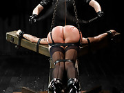 Katie gets stringent leather strap hogtie bondage, bastinado in metal restraints, fisted, and tormented with wax in tight leather strap bondage.