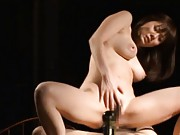 Japanese AV Model showing her talent for cock rides on stage