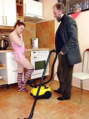 Senior salesman shagging a willing customer