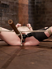 AnnaBelle is spread wide with very tough pole bondage in Part 4 of her Live Show and is challenged with nipple bondage, suction, caning, and cumming.