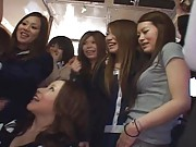 Japanese AV Models Asian girls in a crowd with one horny guy