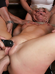 Beautiful blonde MILF endures public humiliation and pain to be rewarded with cock and cum!! Ass fisting, squirting, fucked with bat, bondage, BDSM!!