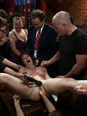 Local model Odile takes the Public Disgrace challenge with bondage, fisting, ass fucking, blowjobs, and BDSM all in front of a horny crowd!