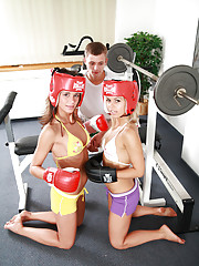 Sweet 18yo teens boxing and fucking in gym