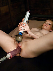 Petite California barbie babe tries to stuff cock bigger than her forearm in her tight pussy, cums from machines fucking her, squirts in her own face.