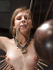 Chastity is made to endure her torment and training rather than fall into sub-space.