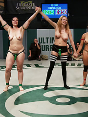 After a brutal tag team, a 7 girl orgy ensues. Fisting, humiliation, squirting, strap-on pussy pounding and sucking. All in front of a live audience!