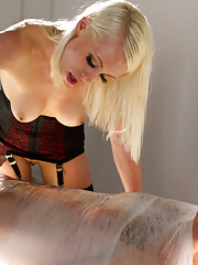 Lorelei Lee wires up slaves cock and electrifies his dick!