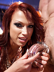 Man meat is locked away in chastity, made to wear a tampon in his ass, gets squirted on by his mistress while she swallows his chastity key!