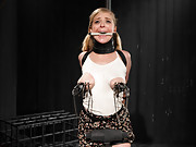 Blonde cunt Penny Pax subjected to brutal bondage with her tits tied tight, greased up like a pig.