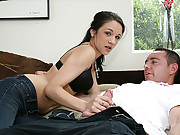 When sexy babe Morgan Brooke wakes up her new boyfriend, she gives him a special treat a raunchy jerk job