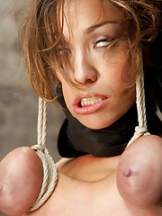 Beautiful Audrey is subjected to intense bondage predicaments, partial breast suspension, brutal hogtie, heavy corporal, and many many orgasms.