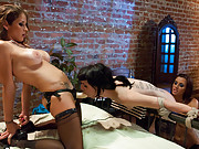 Hot lesbians put their girlfriend in chastity punish her and fuck while she is teased and denied over and over again then squirted on!