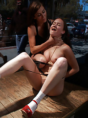 Blindfolded by blackout contact lenses hot amateur is made to jerk off complete strangers in public, ass fucked, and fisted