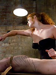 gorgeous red headed bitch ass fucks her slave