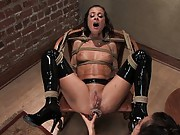 Naught French maid Cecilia Vega is punished and strap-on fucked.