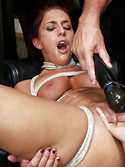 Giant Ass Smacked by strangers, filled with butt plug while her pussy is fucked hard. Full on public sex and humiliation!!!