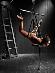 Skin is challenged with electrical/audio predicaments, leather hogtie suspension, Y-shaped inversion suspension, and pushed with pain by sadist Jack.