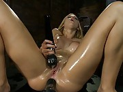 Tight, oiled up 19yr old blond, fuckin, squirting, cumming, screaming from her toes while doing DP & HUGE dick ass fucking that sends her to cum space