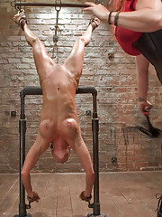 Ariel is suspended upside down by her knees, made to do situps at the urging of the cattle prod, fucked and fisted in her holes, and rides the sybian!