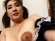 Yui Tokui Asian with black nipples and huge cans rubs her pussy