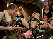 Room full of wicked femdoms party it up and destroy three lucky slaveboys in public!