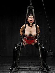 Annika gets difficult chain only suspension bondage, explores latex, endures a tremendous amount of corporal at the hands of Jack and cums helplessly.