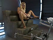Muscle tight babe, trim and blond, shaved pussy, great legs gets machine fucked until she squirts from a BIG black cock.