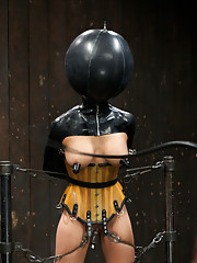 Beretta endures extreme and bizarre latex bondage, kneels on rice, is tested with harsh corporal, and gets double penetrated while Missy Minks watches