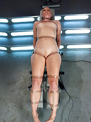 Tied up, choked and made to cum, made to let machines fuck her pussy until she can take no more. She cums so hard, she pushes out the cock!