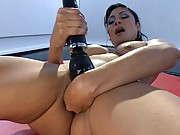 Double penetration w/2 machines- 1 fucking her pussy &1 buried in her ass. Hot local babe arches her sexy body in full throttle grips of powerful Os