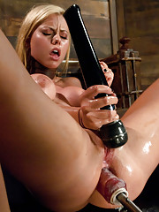 Blonde ass fucked until she squirts, her perfect body totally rocked by machines on high, she does DP and deep, mad hot anal fucking.