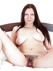 Hairy girl Nancy is black all over