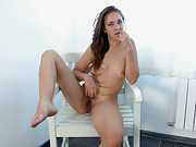 Alice L gives a sexy hairy striptease
